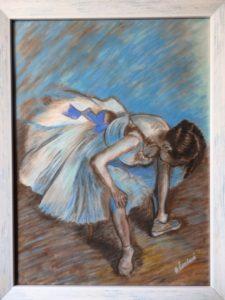 Sedící tanečnice podle Edgara Degase, 2018    Volnost, 2019, 48x37 cm, 35x45 cm, pastel